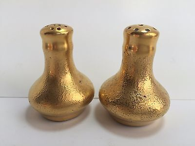 Vintage Porcelain Gold Embossed Round Personal Size Salt & Pepper Shakers 2""