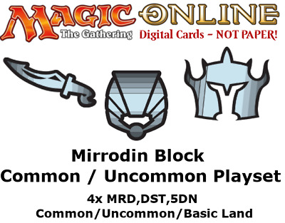 MTGO Magic Online Mirrodin Block Common/Uncommon/Land Playset MRD DST 5DN