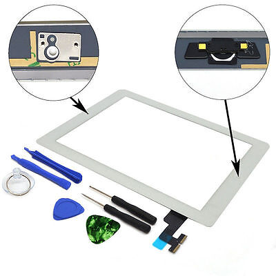 OEM Glass Touch Screen Digitizer + Home Button Assembly for iPad 2 White + Tool