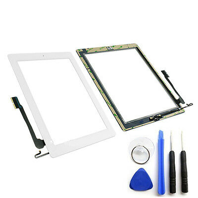 OEM White Glass Touch Screen Digitizer Home Button For iPad 4 4th Tools Adhesive