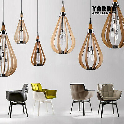 1 or 3 Lights Modern Timber Pendant Light Ceiling Lighting -Natural Wood Colour