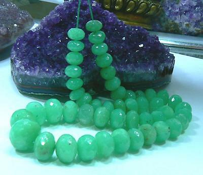 RARE NATURAL APPLE GREEN AUSTRALIAN CHRYSOPRASE FACETED RONDELLE BEADS 10-16mm