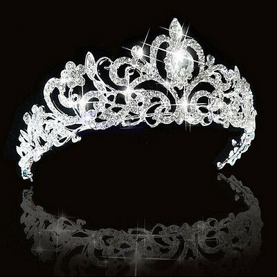 Romance Wedding Bridal Crystal Rhinestone Prom Hair Tiara Crown Veil Headband