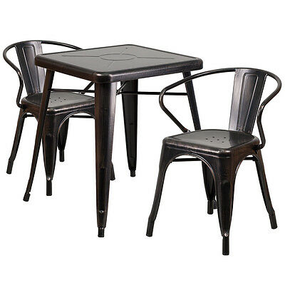 Flash Furniture Black-Antique Gold Metal Indoor-Outdoor Table Set with 2 Arm...