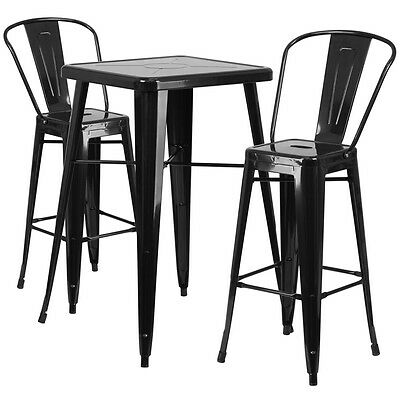 Flash Furniture Black Metal Indoor-Outdoor Bar Table Set with 2 Barstools