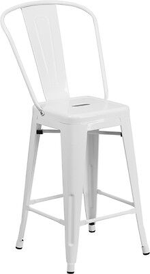 Flash Furniture 24'' High White Metal Indoor-Outdoor Counter Height Stool