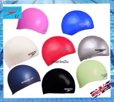 Speedo Adult Moulded Silicone Swim Swimming Cap Hat 7 Colours