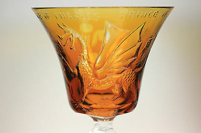 Vintage Prince Of Wales Investiture Cameo Etched Glass Goblet C.1969 Squirrel Ma