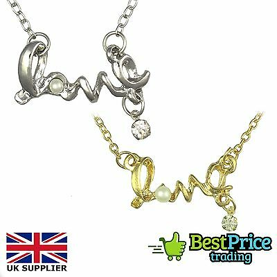 Silver Or Gold Love Word Necklace & Pendant With Pearl & Crystal NEW *Gift