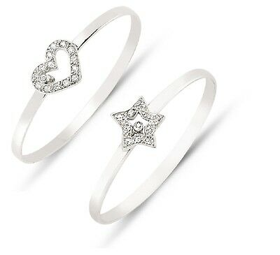 925 Sterling Silver Children's Baby CZ Heart Star Christening Bangle Jewellery