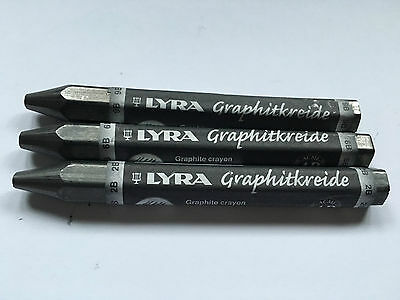 3 X LYRA Graphite Pencils 2B, 6B & 9B Art Drawing Sketching Portraits Artists