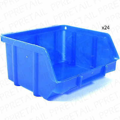 24 x SMALL STACKING STORAGE BOXES Tiny Craft/Hobby Screw Tub Organiser Container