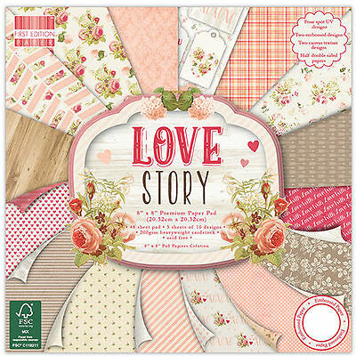 TRIMCRAFT FIRST EDITION LOVE STORY 8x8 PAPER PAD FEPAD114 SCRAPBOOKING