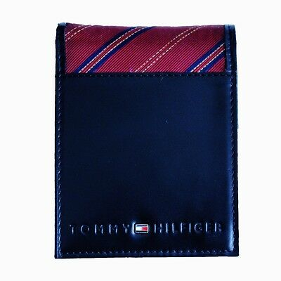 New Tommy Hilfiger Black Leather Passcase Billfold Credit Card Id Men's Wallet