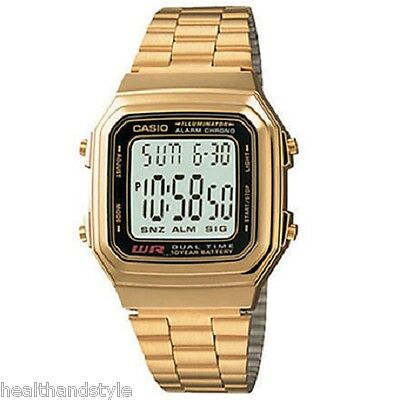 Casio A178WGA-1A Men's Gold Tone Stainless Steel Digital Watch with Gift Box