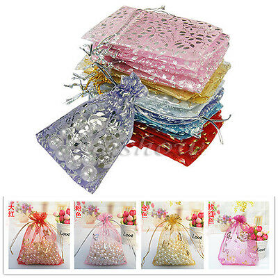 100PCS Organza Jewelry Candy Gift Pouch Bags Wedding Party Xmas Favors Decor New