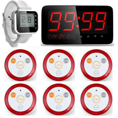 Restaurant Waiter Service Calling System Watch Pager + Display Pager System