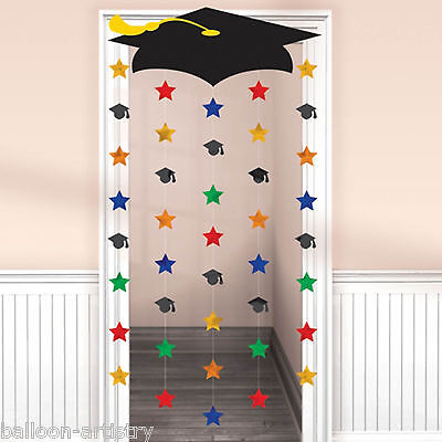 2.1m Multicolour Graduation Caps Party Foil Door Doorway Curtain Decoration