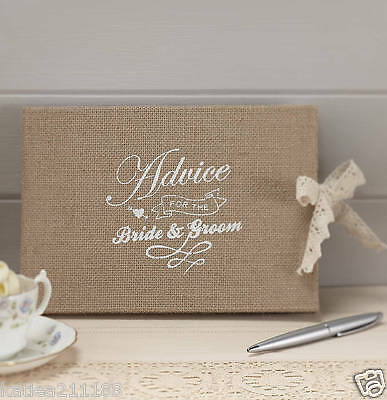 wedding vintage affair burlap hessian rustic country advice guest book