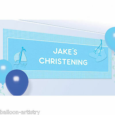 1.2m Blue Boy's Booties & Boat Cute Christening Party Personalised Banner