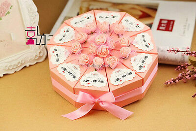 50 Box+5 Ribbon+5 Bow+50 Cards+84 Flower Sweet Candy Weddin Favour Boxes Kit-TB1