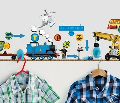 Thomas The Tank Engine Hang Tidy Wall Stickers Vinyl 2 Red Hooks,30 Stickers