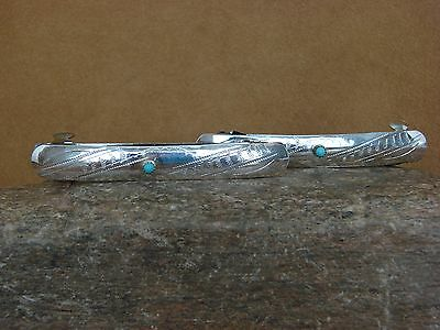 Navajo Indian Jewelry Nickel Silver Turquoise Hand Stamped Hair Barrette Set!