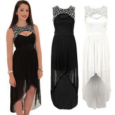 Ladies Diamante Cut Out Front Gathered High Low Maxi Long Chiffon Fishtail Dress