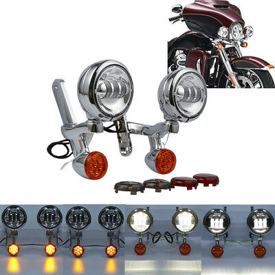 Turn Signal LED Spotlight Fog Light Bracket For Harley Electra Glide FLHX FLHXXX