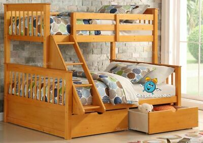 Wooden Triple Sleeper Bunk Bed & Drawers - Pine 3ft & Double Cola Bunks