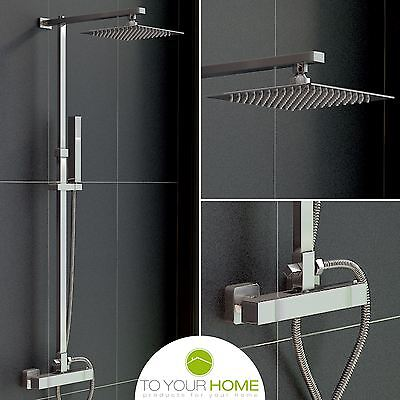 Atlanti Exposed Modern Square Chrome Valve Thermostatic Shower Mixer Twin Head