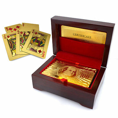 24K Gold Plated Poker Playing Card FREE GOLD BANKNOTE $100 WITH PVC FRAME