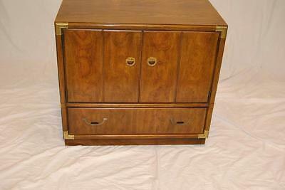 Drexel Campaign Style Chest in Pecan with Single Drawer