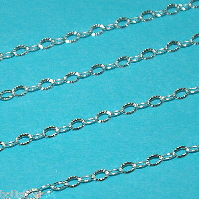 2.5x3.5mm Diamond Cut FLAT OVAL CABLE Sterling SILVER 925 Chain BULK by the foot