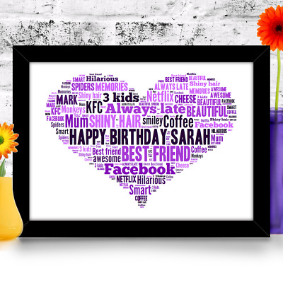 Birthday gift 16th 18th 21st 30th 40th 50th 60th Personalised Heart A4 print