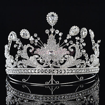 Regal Crystal Rhinestone Wedding Tiara Prom Pageant Princess Crown Veil Headband