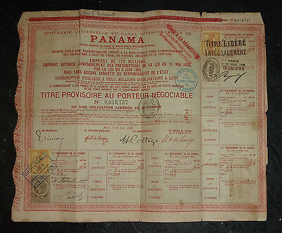 rare 1888 French bond for failed original Panama Canal construction