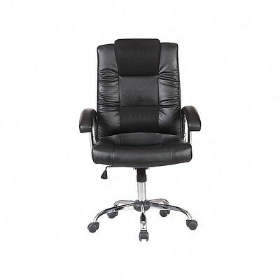 PU Leather Ergonomic Back Adjustable Black Office Chair Computer Desk Furniture