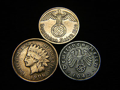 1890-1908 Indian Head Cent Full Liberty + Nazi Coin WW2 3rd Reich German US Lot