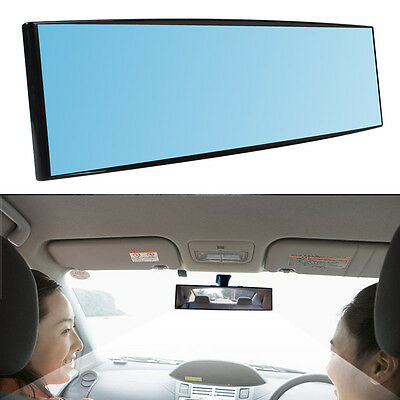 Car Interior Rear Reverse View Mirror Anti-Glare Blue Tint Curve Clip On Vehicle