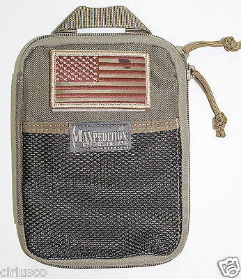 Maxpedition Every Day Carry Organizer Durable Tan Pouch with American Flag Patch