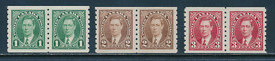 Canada Scott #238-40 (3 Pair) VF to XF Centering (Mint Never Hinged) SCV: $52.50