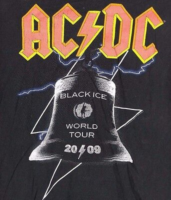 AC/DC 2009 Black Ice Tour T-SHIRT official L tee US & Europe
