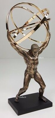 GREEK ATLAS GOD W Celestial Armillary Sphere Desktop Statue Bronze Finish