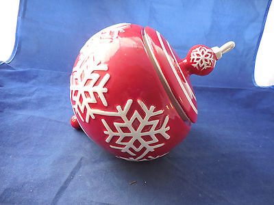 "Lg. Ceramic Christmas Ball Cookie Jar About 8"" Tall By 10"" Long"