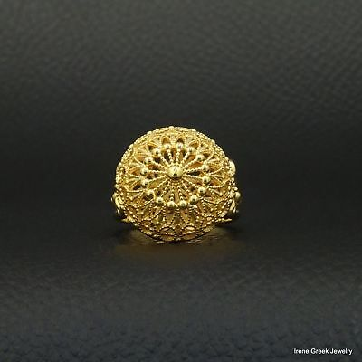 Medieval Filigree Style 925 Sterling Silver 22K Gold Plated Greek Handmade Ring