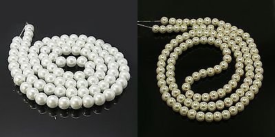 White & Ivory Glass Pearl Round Beads 4mm, 6mm, 8mm, 10mm, 12mm  (BOX121)