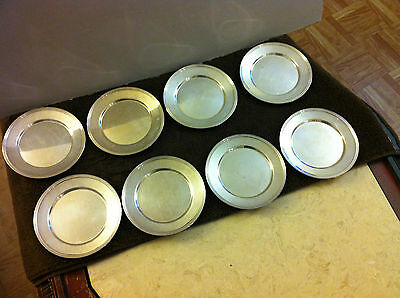 """8-Vintage Antique FB ROGERS SILVER CO-1025-Silverplate 6"""" Bread Plates-Coasters"""