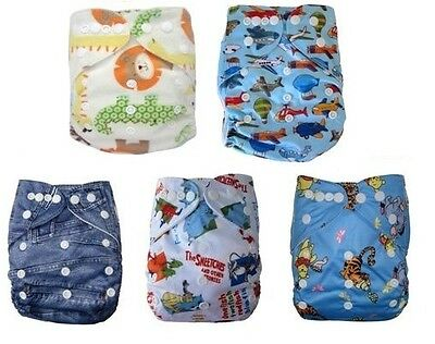 Modern Cloth Reusable Washable Baby Nappy Diaper new 5 PACK boy starter set #051