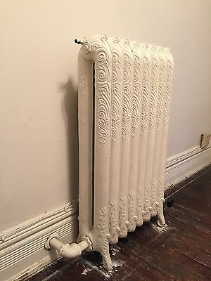 """Ornate Cast Iron Radiator, 8x2colomn, 7""""Dx20.5""""Wx37.5""""H, knobs included"""